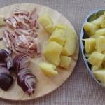Cartofi cu sunca si ceapa