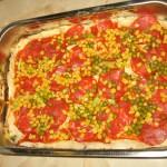 Pizza chorizo, porumb si mazare